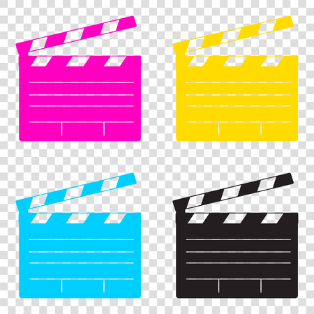 Film clap board cinema sign. CMYK icons on transparent background. Cyan, magenta, yellow, key, black. Illustration