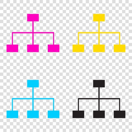 Site map sign. CMYK icons on transparent background. Cyan, magenta, yellow, key, black.