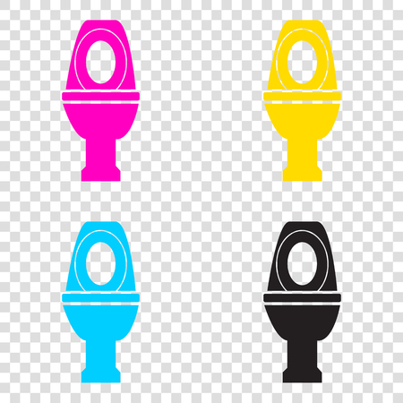 Toilet sign illustration. CMYK icons on transparent background. Cyan, magenta, yellow, key, black.