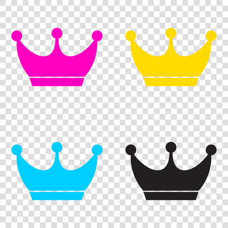 King crown sign. CMYK icons on transparent background. Cyan, magenta, yellow, key, black. Illustration
