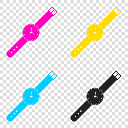 seconds: Watch sign illustration. CMYK icons on transparent background. Cyan, magenta, yellow, key, black.