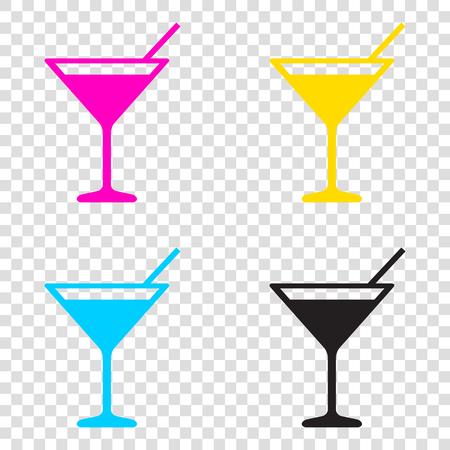 Cocktail sign illustration. CMYK icons on transparent background. Cyan, magenta, yellow, key, black.