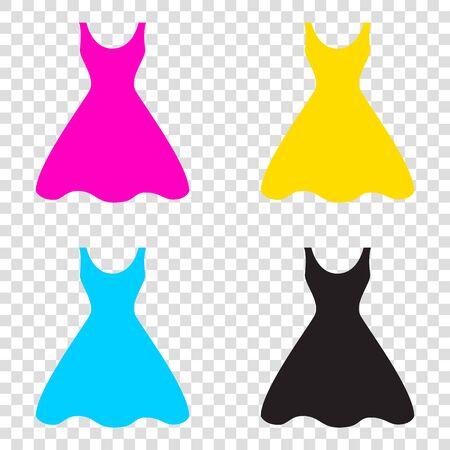 Woman dress sign. CMYK icons on transparent background. Cyan, magenta, yellow, key, black. Illustration