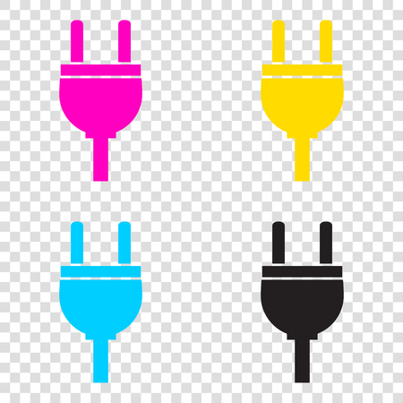 Socket sign illustration. CMYK icons on transparent background. Cyan, magenta, yellow, key, black.