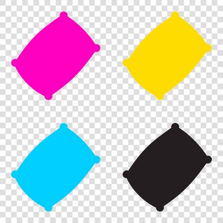 Pillow sign illustration. CMYK icons on transparent background. Cyan, magenta, yellow, key, black.