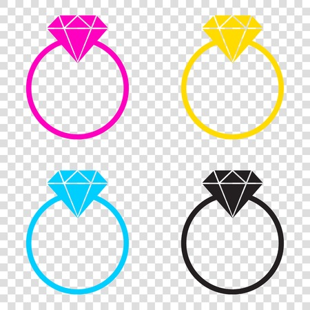 Diamond sign illustration. CMYK icons on transparent background. Cyan, magenta, yellow, key, black. Illustration
