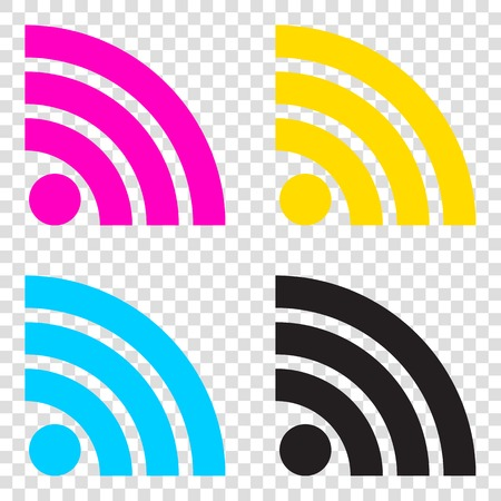RSS sign illustration. CMYK icons on transparent background. Cyan, magenta, yellow, key, black.