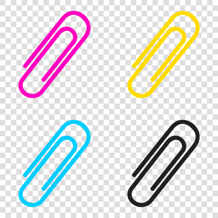 Clip sign illustration. CMYK icons on transparent background. Cyan, magenta, yellow, key, black.