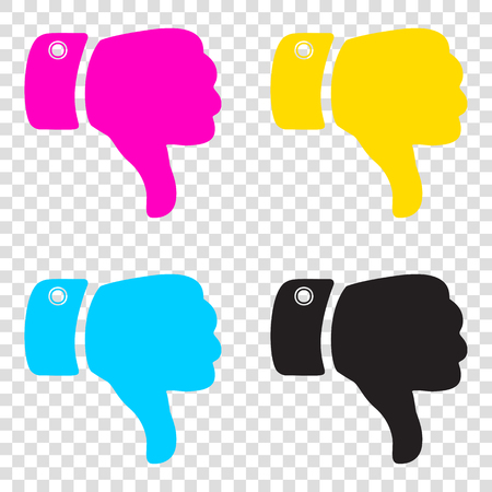 Hand sign illustration. CMYK icons on transparent background. Cyan, magenta, yellow, key, black.