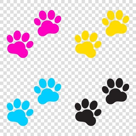 Animal Tracks sign. CMYK icons on transparent background. Cyan, magenta, yellow, key, black.