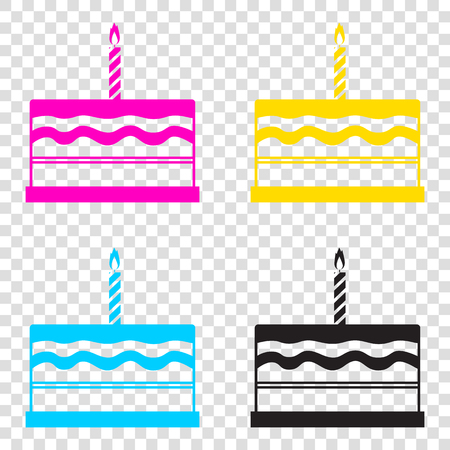 Birthday cake sign. CMYK icons on transparent background. Cyan, magenta, yellow, key, black.