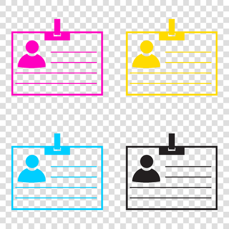 Id card sign. CMYK icons on transparent background. Cyan, magenta, yellow, key, black.