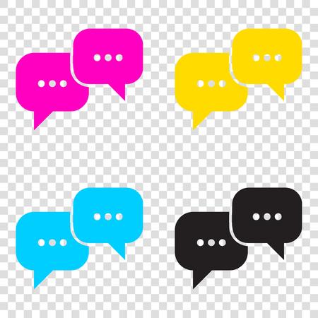 Speech bubbles sign. CMYK icons on transparent background. Cyan, magenta, yellow, key, black.