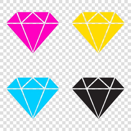 karat: Diamond sign illustration. CMYK icons on transparent background. Cyan, magenta, yellow, key, black. Illustration
