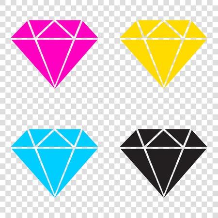 Diamond sign illustration. CMYK icons on transparent background. Cyan, magenta, yellow, key, black. Illustration