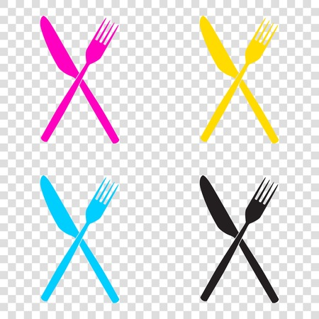 Fork and Knife sign. CMYK icons on transparent background. Cyan, magenta, yellow, key, black. Illustration