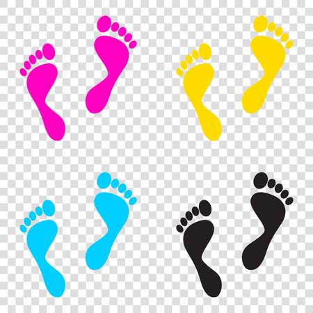 alibi: Foot prints sign. CMYK icons on transparent background. Cyan, magenta, yellow, key, black.