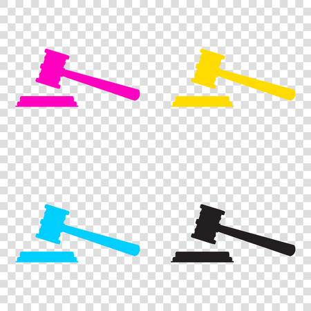Justice hammer sign. CMYK icons on transparent background. Cyan, magenta, yellow, key, black.