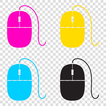 Mouse sign illustration. CMYK icons on transparent background. Cyan, magenta, yellow, key, black.