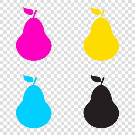 Pear sign illustration. CMYK icons on transparent background. Cyan, magenta, yellow, key, black.