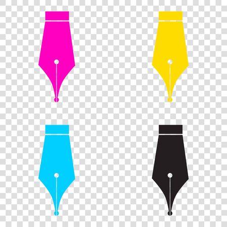Pen sign illustration. CMYK icons on transparent background. Cyan, magenta, yellow, key, black. Illustration