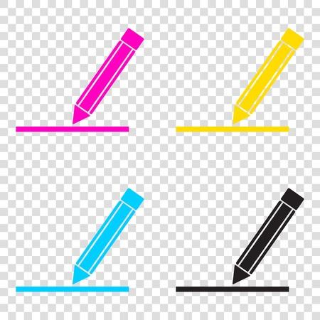 Ilustración de signo de lápiz. Iconos de CMYK en fondo transparente. Cian, magenta, amarillo, clave, negro.
