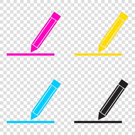 Pencil sign illustration. CMYK icons on transparent background. Cyan, magenta, yellow, key, black.