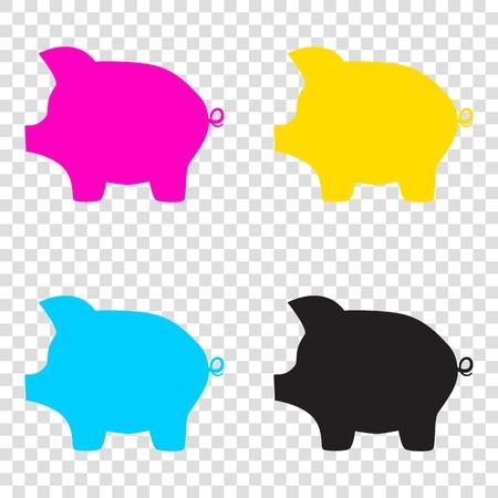 Pig money bank sign. CMYK icons on transparent background. Cyan, magenta, yellow, key, black.