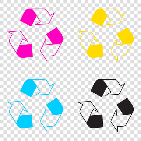 Recycle logo concept. CMYK icons on transparent background. Cyan, magenta, yellow, key, black.