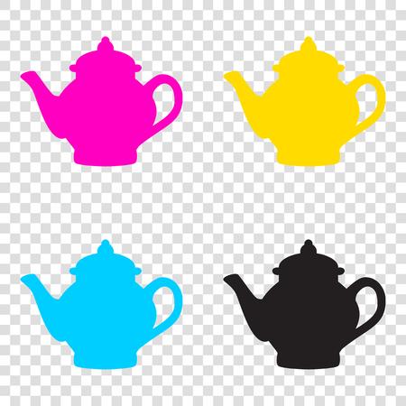 Tea maker sign. CMYK icons on transparent background. Cyan, magenta, yellow, key, black.