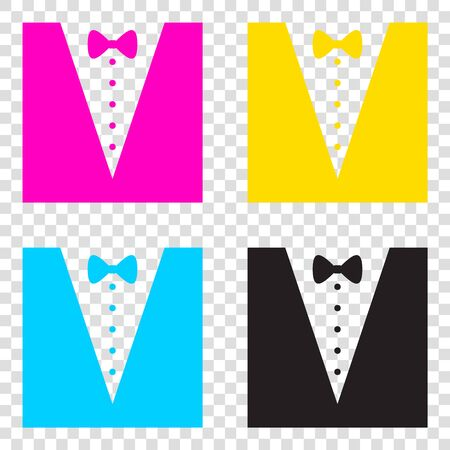 Tuxedo with bow silhouette. CMYK icons on transparent background. Cyan, magenta, yellow, key, black.