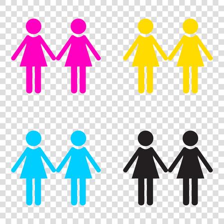 Lesbian family sign. CMYK icons on transparent background. Cyan, magenta, yellow, key, black.