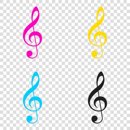 Music violin clef sign. G-clef. Treble clef. CMYK icons on transparent background. Cyan, magenta, yellow, key, black.