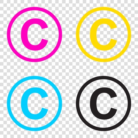 Copyright sign illustration. CMYK icons on transparent background. Cyan, magenta, yellow, key, black.