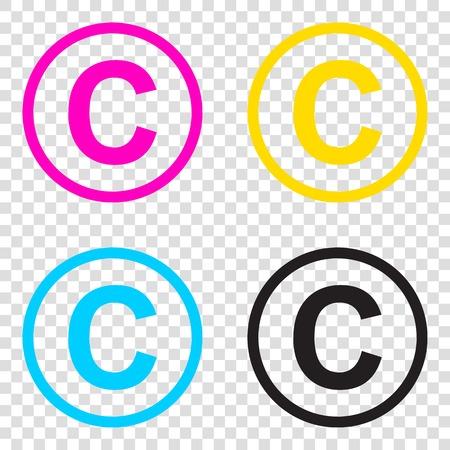 Copyright sign illustration. CMYK icons on transparent background. Cyan, magenta, yellow, key, black.