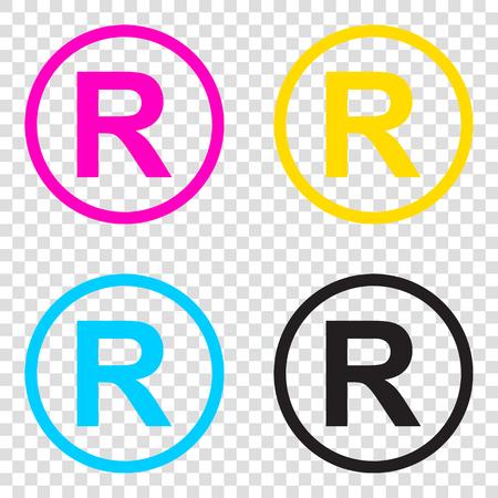 dispensation: Registered Trademark sign. CMYK icons on transparent background. Cyan, magenta, yellow, key, black. Illustration