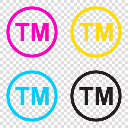 Trade mark sign. CMYK icons on transparent background. Cyan, magenta, yellow, key, black.