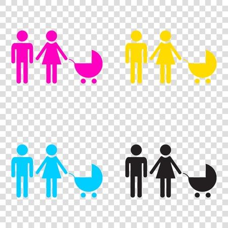 Family sign illustration. CMYK icons on transparent background. Cyan, magenta, yellow, key, black.