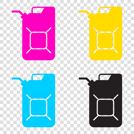 Jerrycan oil sign. Jerry can oil sign. CMYK icons on transparent background. Cyan, magenta, yellow, key, black.