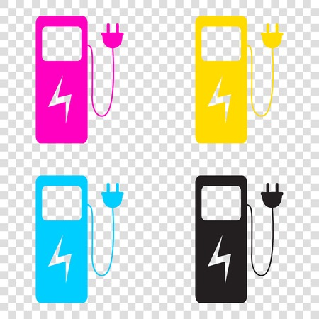Electric car charging station sign. CMYK icons on transparent background. Cyan, magenta, yellow, key, black.
