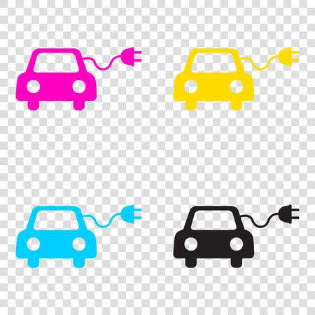 echnology: Eco electric car sign. CMYK icons on transparent background. Cyan, magenta, yellow, key, black. Illustration