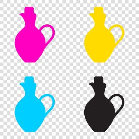 Amphora sign illustration. CMYK icons on transparent background. Cyan, magenta, yellow, key, black. Illustration
