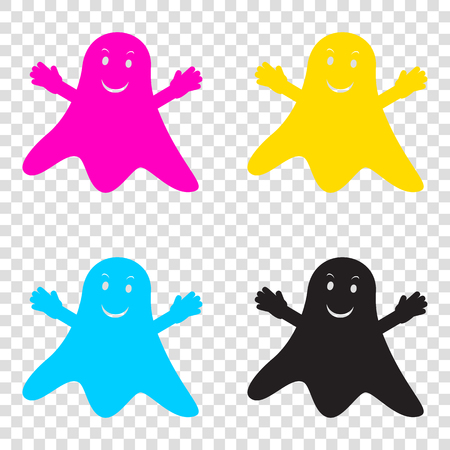 phantom: Ghost isolated sign. CMYK icons on transparent background. Cyan, magenta, yellow, key, black. Illustration
