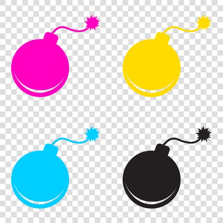 Bomb sign illustration. CMYK icons on transparent background. Cyan, magenta, yellow, key, black.