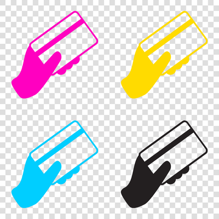 Hand holding a credit card. CMYK icons on transparent background. Cyan, magenta, yellow, key, black.