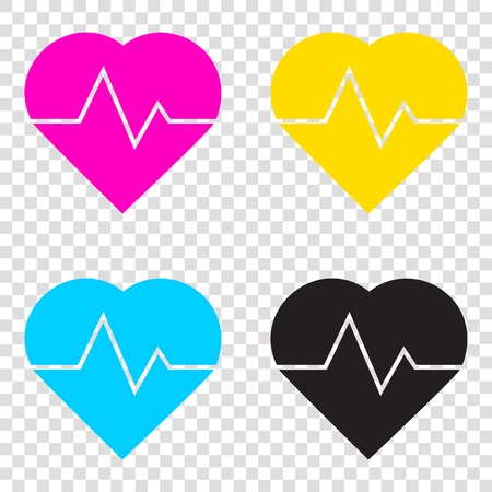Heartbeat sign illustration. CMYK icons on transparent background. Cyan, magenta, yellow, key, black.
