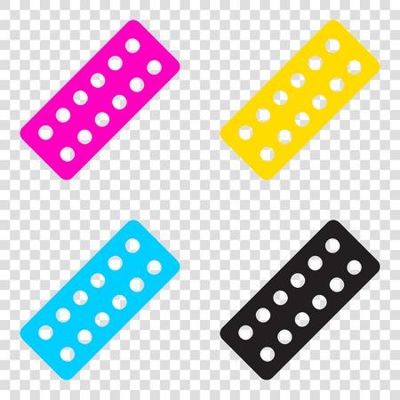 Medical Pills sign. CMYK icons on transparent background. Cyan, magenta, yellow, key, black. Illustration