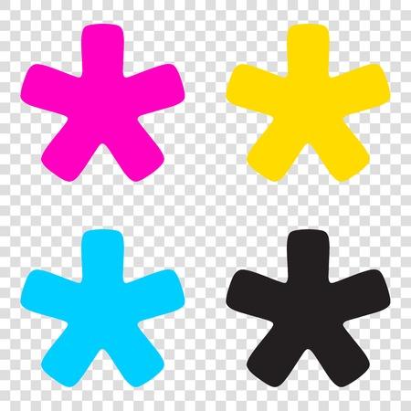 Asterisk star sign. CMYK icons on transparent background. Cyan, magenta, yellow, key, black.