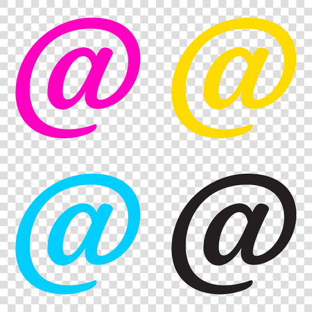 Mail sign illustration. CMYK icons on transparent background. Cyan, magenta, yellow, key, black. Illustration
