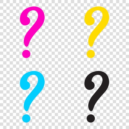 Question mark sign. CMYK icons on transparent background. Cyan, magenta, yellow, key, black.